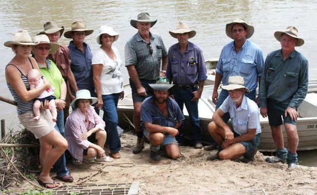 Some of the people who are cut off by the swollen Fitzroy River north of Gogango.