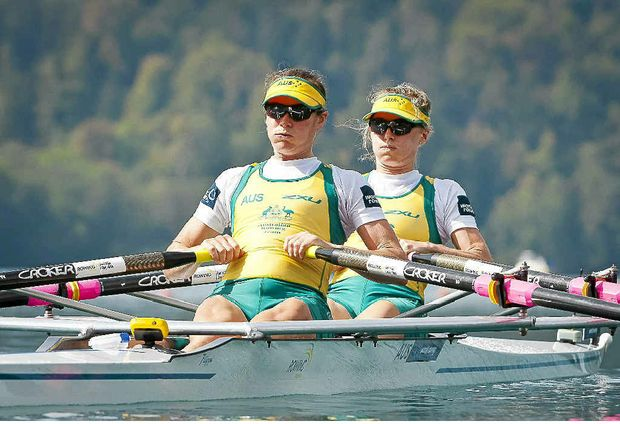 Australia's Hannah Every-Hall and Alice McNamara compete in the lightweight women's double sculls final at the world championships last year.
