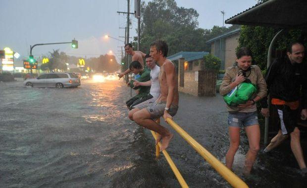 Heavy rain, flooding on Brisbane Road, Mooloolaba.
