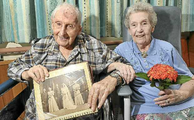 Albert Mann, 96, and his wife Gracie, 91, celebrate their 70th wedding anniversary at the Immanuel Garden Nursing Home.