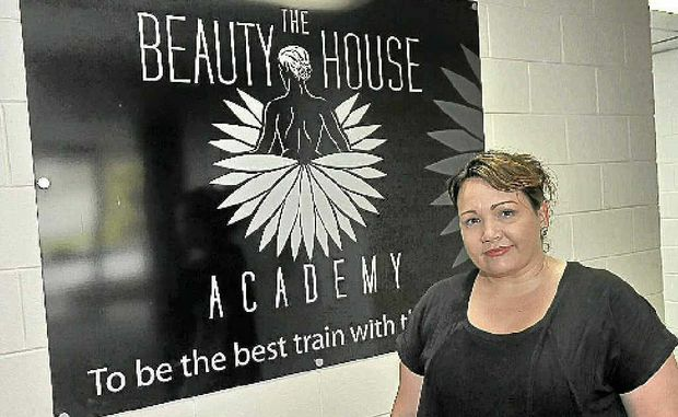 Beauty House Academy's Narelle Crick after the business was inundated on Thursday.
