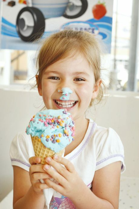 Georgina Millard, 4, of Yamanto cools off with an ice-cream at Cold Rock Riverlink.