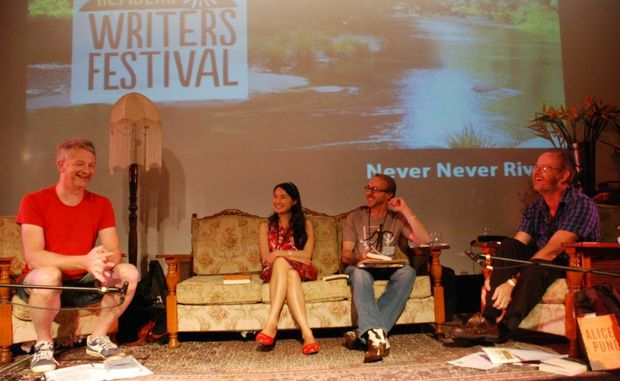 Irish writer and singer Andy White with Melbourne based writer Alice Pung, poet Mark Treddinnick and Brian Purcell.