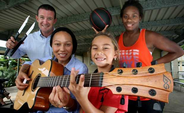Matthew Jacobson, Leetoia Williams, Ruby Schofield (8) and Joanne Robson at Fingal Head public school.