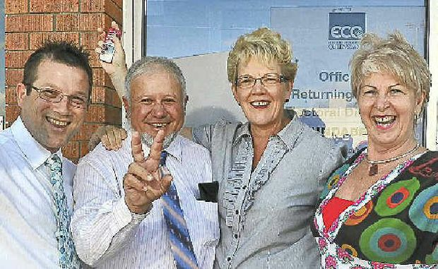 NO COMPETITION: Bundaberg Regional Councillors Dave Batt, Tony Riccardi, Judy Peters and Lynne Forgan are ecstatic after finding out they will have their jobs for another term.