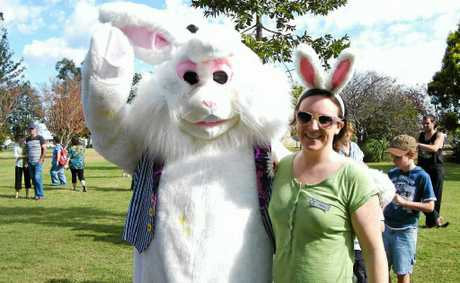 Warwick Tourism and Events' Shona Gibson chills out with the Easter Bunny at last year's fair.