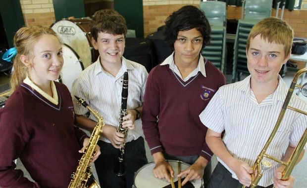 Victoria Roberts, Daniel Adams, Enoha McMeikan and Nicholas Stallard took part in the SHEP program with 168 other music students from around Central Queensland.