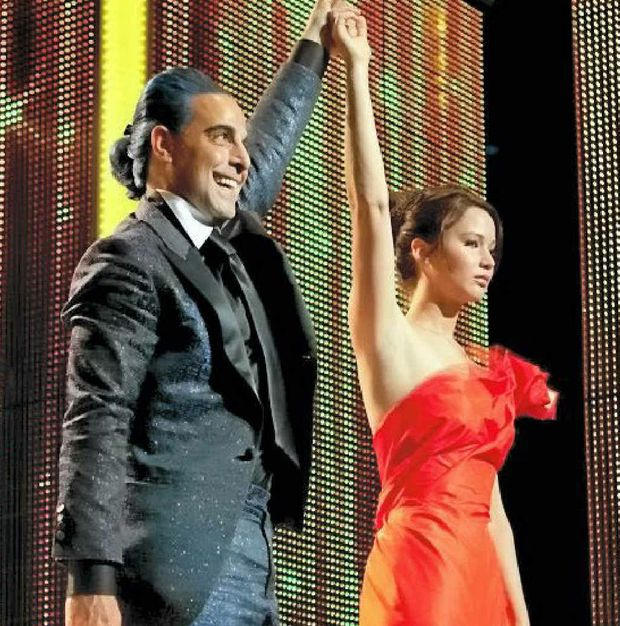 Stanley Tucci and Jennifer Lawrence in a scene from the movie The Hunger Games.