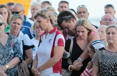 Friends of Matt Barclay hold a memorial service for him at the Maroochydore Surf Life Saving club after he tragically passed away at the Australian Surf Life saving titles on the Gold Coast. Photo: Cade Mooney / Sunshine Coast Daily