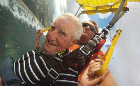 George Taylor, 96, jumping with Skydive Ramblers.