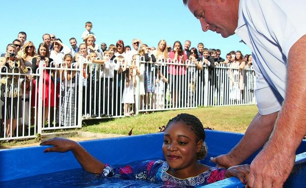 A highlight of the weekend was the baptism on Saturday afternoon as hundreds loudly applauded the five people who took the plunge.