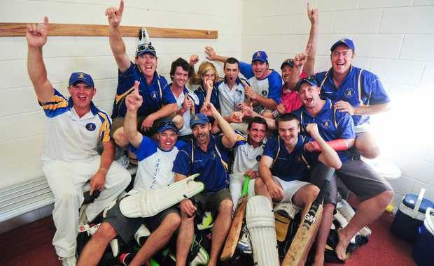 Sawtell players are jubilant after defeating Diggers Ex-Services in the Coffs Harbour and District cricket grand final.