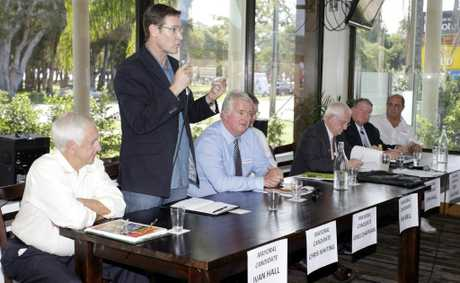 Mayoral candidate Chris Whiting talks to the crowd at the Ratepayers Action Group event at Bribie Island Hotel on Sunday. Photo Vicki Wood / Caboolture News
