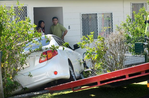 The Toyota crashed through the front fence across the road from the units in Liston St, Nambucca.
