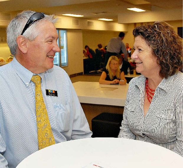 Thomas Block and Joy Sleep were among the first to test the new Qantas lounge in Mackay.