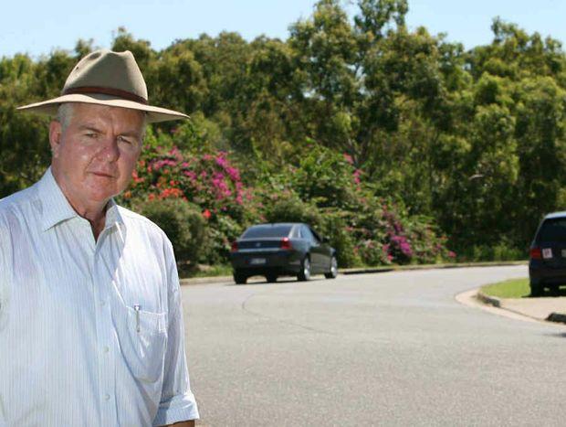 Cr Stephen Schwarten near Peppermint Dve, where he said council CEO Evan Pardon has refused to fix a safety problem.