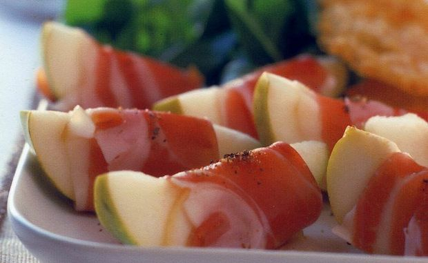 Pear wrapped with prosciutto.