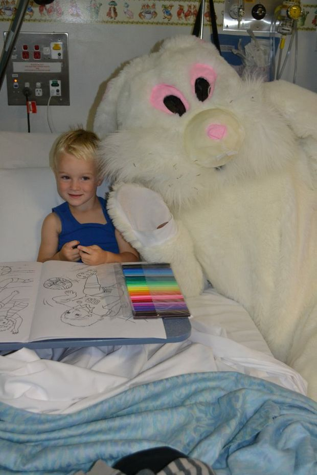 Colouring in his book from the Easter Bunny is Hunter Hass of Meringandan West.