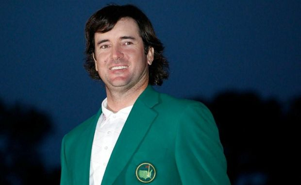 American golfer Bubba Watson with his Green Jacket after victory in the 2012 US Masters.