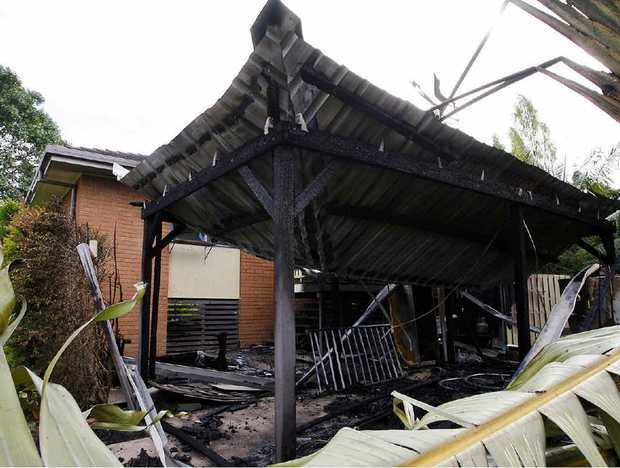 A fire at Riverview yesterday is reported to have started in the carport and spread to the house and neighbour's yard. No-one was at home during the blaze.