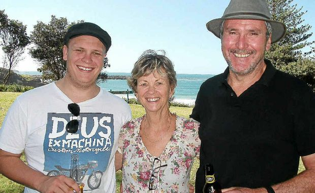 Sharmian (nee Marr) and John Maxwell, of Yamba, with their son, Johnno from Sydney, at the Marrs' bi-annual family reunion over the Easter long weekend.