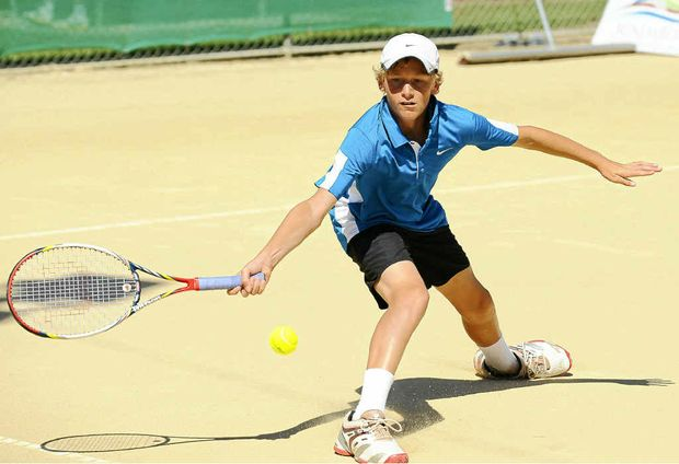 Max Purcell competes in the Queensland Junior Claycourt International at Drinan Park yesterday.