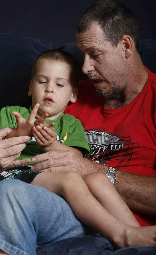 Nickolas Gardiner-Krebs, 3, with dad Scott Gardiner who received a shock at the Easter Monday Funday.