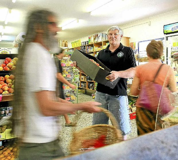 Barry McQueen from Baz and Shaz's corner store in Suffolk Park is busy as usual and the business continues to flourish.