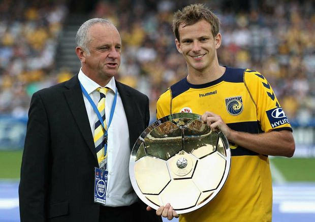 Central Coast's Graham Arnold and Alex Wilkinson.