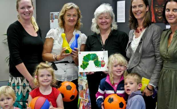 Hayley Johnson, Pam Johnson, Judy Atkinson, Nicola Kerr and Jan Rooney with 'The Very Hungry Caterpillar' fans Mikey Ryan, Juliet Ryan, Alice Roy and Hudson Roy.