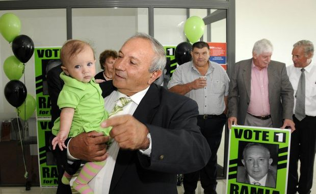 Mayoral candidate Joe Ramia launches his election campaign at Peter Roberts Honda with help from supporters and his grand-daughter Stella Ramia.