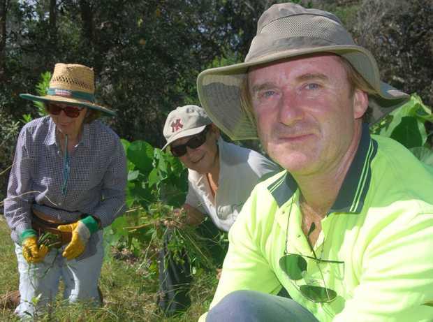 Cabarita Beach Dunecare members Jackie Brooks, Faye Nash and Kieran Kinney working onsite at Cabarita.