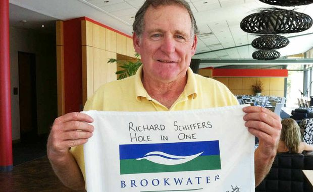 American tourist Mr Richard Schiffers achieved more than he imagined on the Brookwater golf course last week, when he scored a hole-in-one at Queensland's number one golf course.