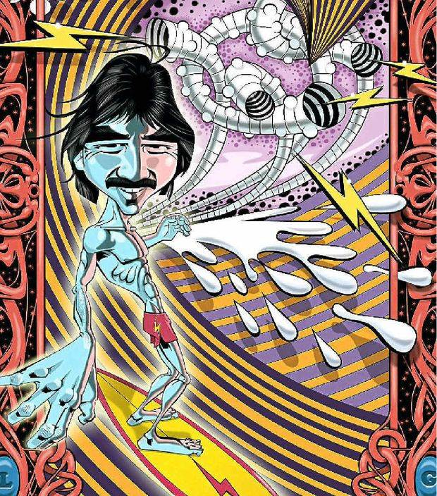 PSYCHEDELIC: Ben Godfrey's portrait of Gerry Lopez.