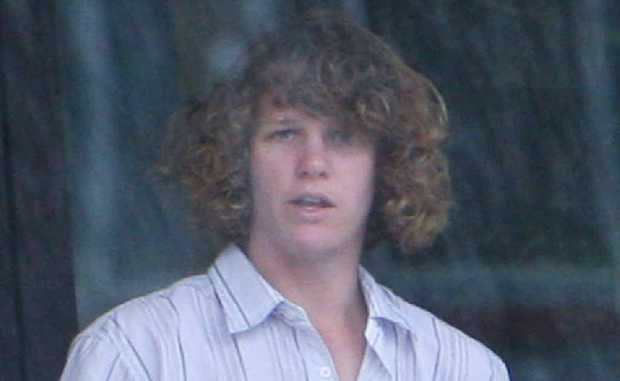 Joshua Miller at an earlier court appearance for damaging a grass reserve at Seaforth.