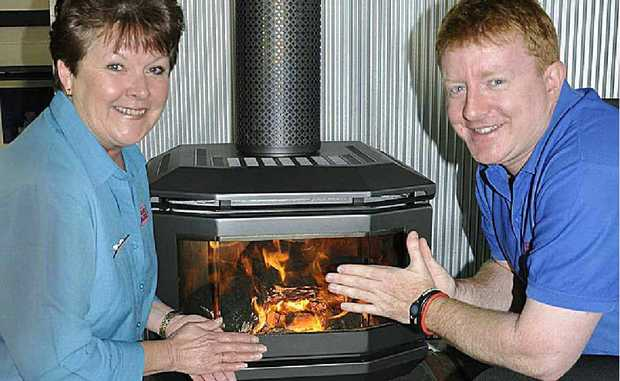 Karen Ross and Joe Mathews from Barbecues Galore have seen a rush of people in to buy heaters to combat the cold.