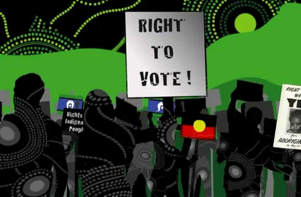 A screenshot from the Louder than One Voice YouTube clip which is aimed at encouraging more indigenous Australians to enrol to vote.