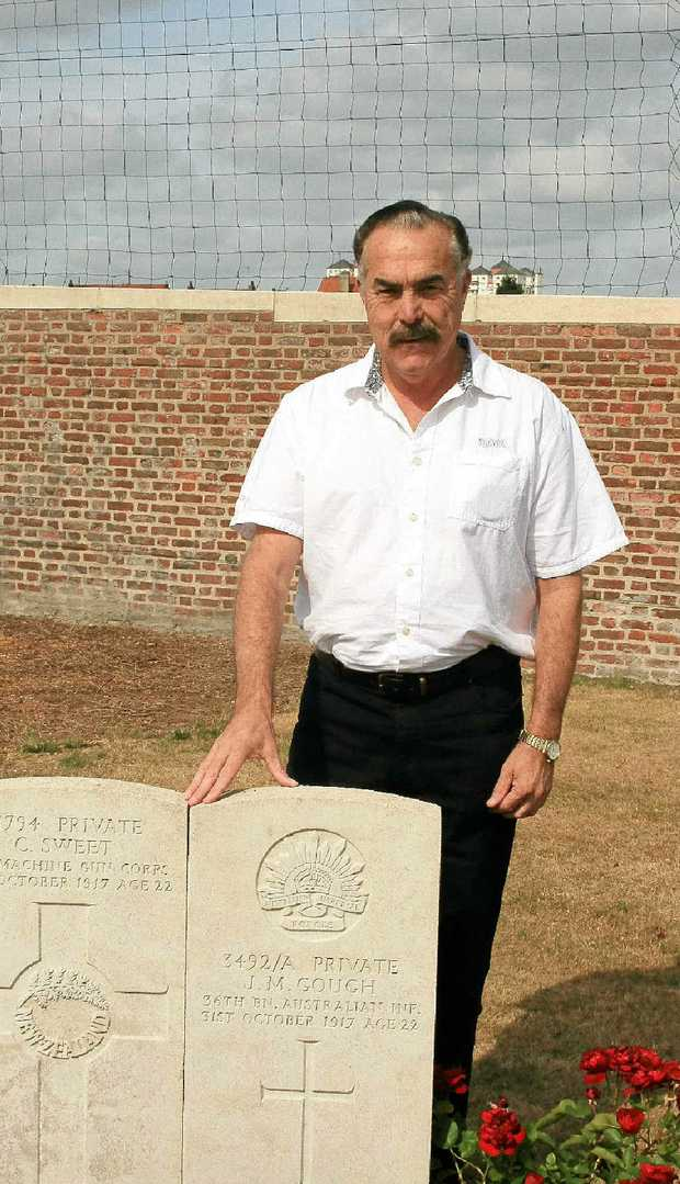 Grafton's Allan Gough, at the grave of his great-uncle, Private John Gough in Rouen, France.
