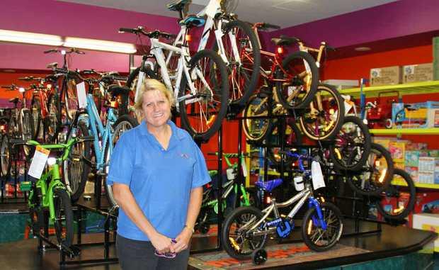 Kathy Peet surveys the new bike room.