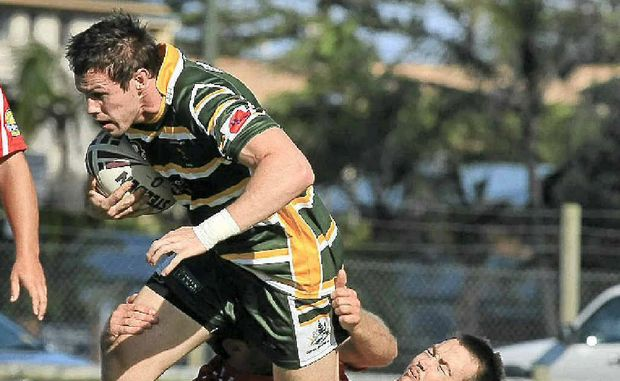 Cudgen's Brady Upton on the boil against Currumbin. The solid prop will be to the fore again tomorrow.