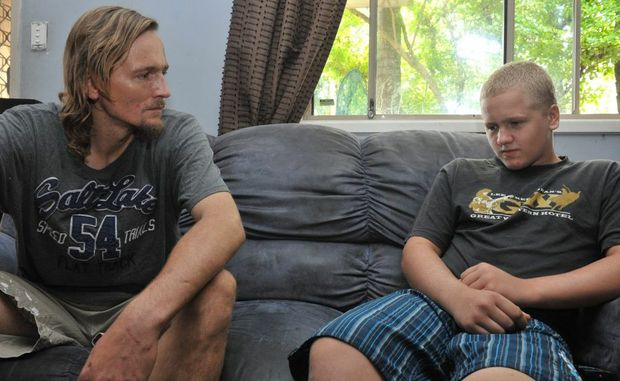 John-Paul Andrew with his son Zac, 15 who is facing the 'music' over allegedly making a bomb.