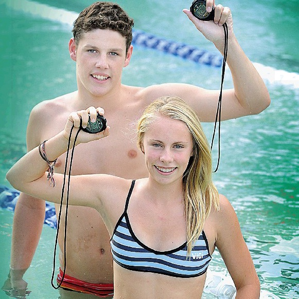 Cameron Preval (15) and Ruby Elder (13) impress at the national age titles in Brisbane.