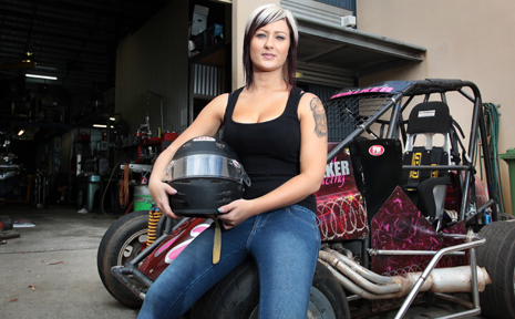 START YOUR ENGINES: Female racer Sarah Walker with her compact race car.