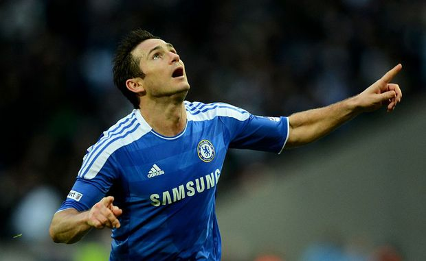 Frank Lampard celebrates his goal against Spurs in the semi-final of the FA Cup.