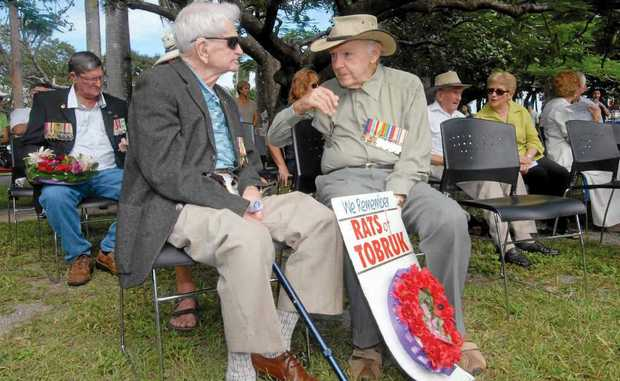 Mackay Rats of Tobruk Andrew Cameron (left) and Annan Skerman attend the ceremony at Queens Park.