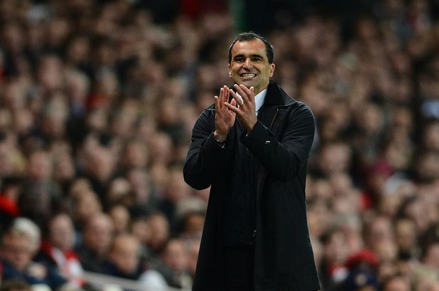 Manager Roberto Martinez of Wigan gives instructions during the Barclays Premier League