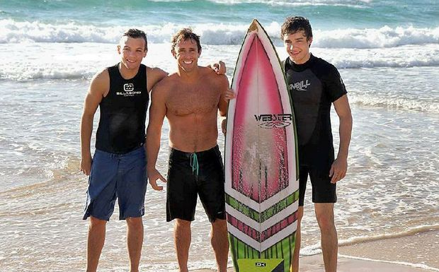 One Direction's Liam Payne and Louis Tomlinson enjoyed a few waves with big wave surfer Mark Visser on the Coast yesterday.
