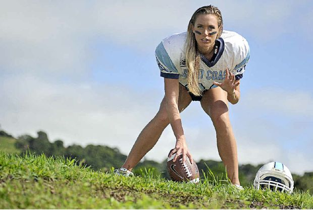 Lauren Funnell of Suffolk Park will try out for the Lingerie League in June, and is co-ordinating the formation of a Gridiron League.Cathy Adams