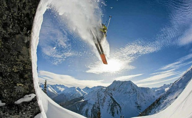 A skier catching air at Roger's Pass, Glacier National Park, Canada in one of the films.