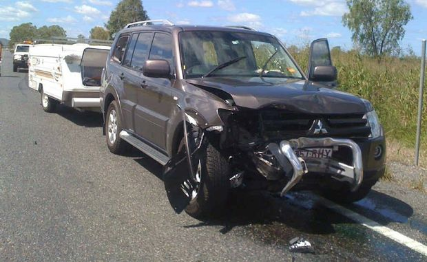 Stephen and Roslyn Hughes's Pajero and caravan after it hit a truck tyre on the Capricorn Highway last fortnight.